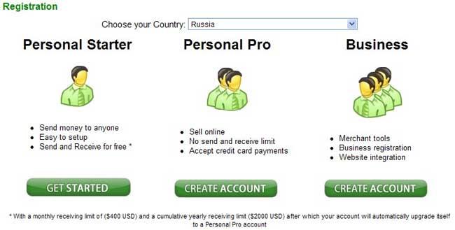 Страница выбора типа аккаунта.
