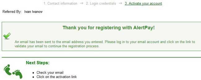 Страница окончания регистрации в AlertPay.